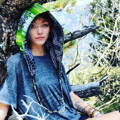 The Aspen Reversible Bohemian Hood, Green and Black Shipibo Festival Head Accessory, Third Eye Grassroots Sacred Geometry Hood