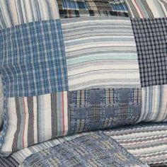 @Overstock - Patches of striped and plaid blues in king-size quilt set. $93.99