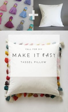 Make It Easy Tassel Pillow - The heading says it all, the greatest solution for a plain pillow is adding tassels on each of its sides, and the best part is that it is quick and easy. With all the right colors, it will still be unique and noticeable while laying on the couch or bed. - 10 Tassel DIYs that Are a Must Make