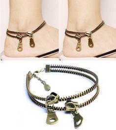Rock Women Retro Metallic Statement Bronze Zipper Anklet Chain Bracelet…