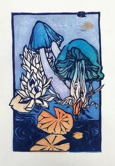 mushroom lotus woodblock by reminisense on DeviantArt Mushroom Tattoos, Japanese Woodcut, Fly Traps, Lotus, Venus Flytrap, Stuffed Mushrooms, Deviantart, Sustainability, Artwork