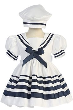 White Nautical Sailor Dress with Navy Blue Trim & Beret Style Hat (Baby & Toddler Girls) Sailor Outfits, Sailor Dress, Baby Sailor Outfit, Toddler Girl Outfits, Kids Outfits, Toddler Girls, Baby Girl Fashion, Kids Fashion, Little Girl Dresses