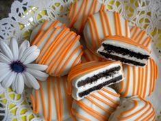 Halloween Orange Tangerine White Chocolate Covered Oreo Cookies Party Favors Edible Wedding Favors Baby Shower Favors Dessert Table Candy. $16.00, via Etsy.