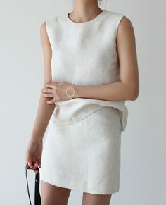Skirt and top in linen by VERYYOU http://veryyou.co.kr/product/detail.html?product_no=11514&cate_no=95&display_group=1