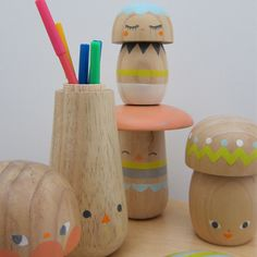 kokeshi like hand-painted wooden mushrooms by beci orpin Toy Art, Casa Kids, Crafts For Kids, Diy Crafts, Paperclay, Wood Toys, Kid Spaces, Decoration, Kids Room