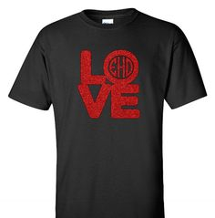 Valentines Day Love Monogram Adult T-Shirt Adult by VinylDezignz