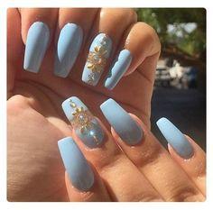 emmaceski Blue Nails Coffin Stiletto Matte My