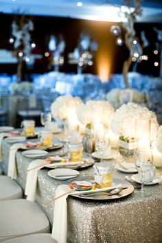 Metallic Sequined Table Linens