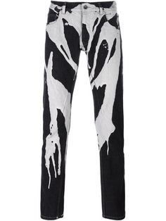 RICK OWENS DRKSHDW Paint Drip Straight Leg Trousers. #rickowensdrkshdw #cloth #trousers