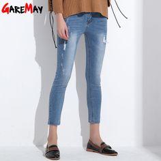Ripped Jeans For Women Skinny Denim Capri Jeans Femme Stretch Plus Size Female Jeans Vaqueros Mujer Slim Pencil Pants For Women