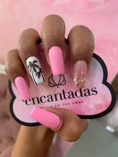 Pink Acrylic Nails, Pink Nails, Chistmas Nails, Palm Tree Nails, White Tip Nails, Crazy Nails, Manicure E Pedicure, Get Nails, Dream Nails