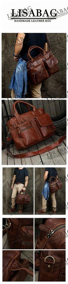 Handmade Dark Brown Top Grain Leather Briefcase Men's Handbag Messenger Bag 15'' Laptop Bag NZ03