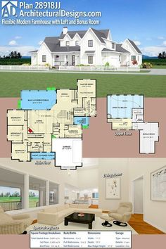 Architectural Designs House Plan 28918JJ is a country farmhouse with 4 beds with just over 2,600 sqft heated space plus an optional finished bonus room over the garage. Ready when you are. Where do YOU want to build? #28917JJ #adhouseplans #architecturaldesigns #houseplan #architecture #newhome #newconstruction #newhouse #homedesign #dreamhome #dreamhouse #homeplan #architecture #architect #housegoals #countryhouse #farmhousestyle #farmhouse #Traditional