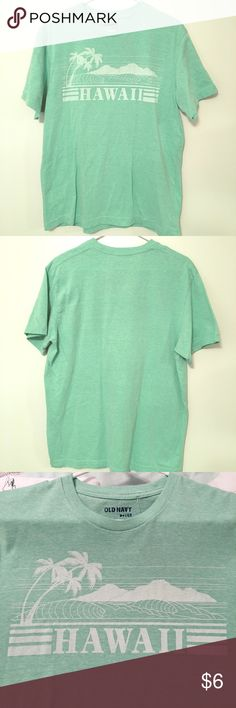 Old Navy Hawaii Sea-foam Green T Shirt LIKE NEW -- This t-shirt is super soft & comfy! I love it! It can be worn with joggers, khakis, jeans, shorts, or anything! The color is pleasing to look at & you will definitely stand out in this shirt. Aloha 🌺 Old Navy Shirts Tees - Short Sleeve