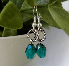 Emerald Beads with Silver Ring Earrings on Etsy, $16.50 CAD