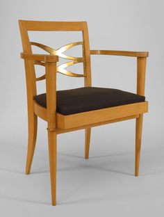 Art Moderne/1940s French seating chair/arm chair-pair sycamore