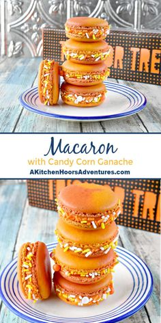 Combined with white chocolate and turned into a ganache, Macaron with Candy Corn Ganache elevates the Halloween candy into something decadent. HalloweenTreatsWeek via 526076800219195873 Halloween Desserts, Halloween Treats, Fall Desserts, Halloween Macaroons, Halloween 2019, Macarons, Macaron Cookies, Candy Corn, Cookies Subway