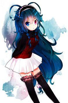 anime heterochromia / odd eyes blue pink