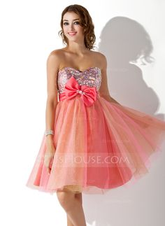 Empire Sweetheart Knee-Length Beading Bow(s) Zipper Up Strapless Sleeveless Other Colors Spring Summer Fall General Plus Tulle Homecoming Dress