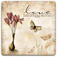 Carte double 'Love' création originale fait main 15cm x 15cm : Cartes par card-bubble