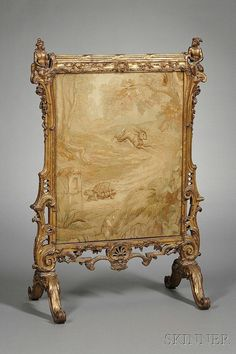 French Rococo Revival Fire Screen, century, the elaborate openwork carved giltwood frame topped by two monkeys and with pendant shell and trailing ivy, inset with a tapestry fragment depicting Aesop's Tortoise and the Hare, ht. French Furniture, Unique Furniture, Furniture Making, Furniture Design, French Rococo, Rococo Style, Fireplace Fender, Dressing Screen, Fireplace Screens