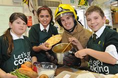 Catshill Middle School, in Worcestershire, pupils joined by local firefighthers as they cook their way to success in the Let's Get Cooking BIG Cookathon 2013!