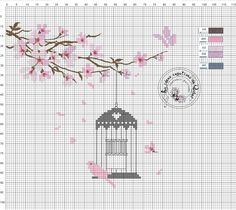 Cross stitch birdcage and cherry blossoms