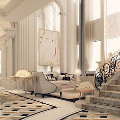 Beautiful living space and staircase