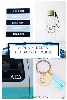 Use this Alpha Xi Delta Bid Day Gift Guide to find the perfect gifts you and your new Alpha Xi sisters will absolutely love! #alphaxidelta #axid #bidday #biddaygifts #giftguide #sororitygifts Sorority Bid Day, Sorority Sugar, Sorority Gifts, Bid Day Gifts, Leather Tassel Keychain, Bid Day Themes, Greek Design, Alpha Xi Delta, Party Plan