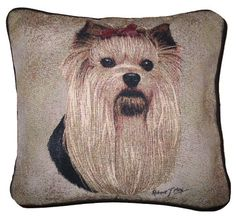Yorkie Tapestry Cushion made using the Jacquard weave process. Price includes UK post & VAT.