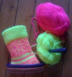 chaussette au tricotin ovale