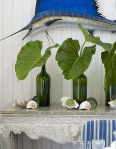 Display palm #leaves in bottles. More ideas for palm leaves at Completely Coastal: http://www.completely-coastal.com/2012/08/palm-leaves-fronds-simple-decor-ideas.html
