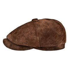 7b7784ef Leather newsboy Retro IVY Hat Cap 8 Pannel Cabbie Classtic Beret Hat - Dark  Brown -
