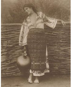 Romanian girl in her peasant costume back in Traditional Art, Traditional Outfits, Folk Costume, Costumes, Romania People, Romanian Girls, Boho Life, Folk Embroidery, Vintage Photographs