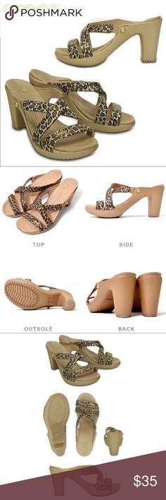 """*NWOT* CROCS Cyprus IV leopard heel sandals size 8 *NWOT* CROCS Cyprus IV leopard heeled sandals size 8. Brand new, never worn. Super cute and comfy! Approx 3.5"""" heel. Offers welcome, no trades. CROCS Shoes Sandals"""