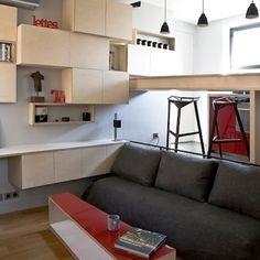 大きなアパートの主寝室部分を独立させた、12平方メートルのワンルームをギャラリーで紹介。スキップフロア式の間取りで、狭い空間を広く使う工夫が施されている。日本でも参考になりそうだ。
