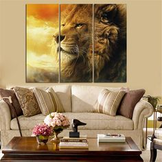 Mordern Lion Oil Painting Animal Landscape Quadros Decoration Home Decor Wall Art Canvas Pictures for Living Room No Frame 3pcs