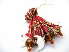 Moon with Cranberry and Gold Beaded Tassel  ornament by lizbethsgarden, $15.00