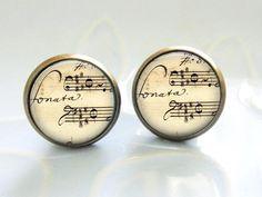 Ohrringe & Ohrschmuck - Sonata Noten Musik VINTAGE OHRRINGE BRONZE - ein Designerstück von BuyMyBaby bei DaWanda