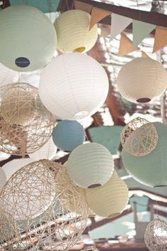 boules chinoises, lampions modernes, suspension papier, décoration avec boule chinoise