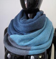 Купить Снуд из кид-мохера на шелке трехцветный - подарок, снуд, снуд-шарф, шарф из мохера