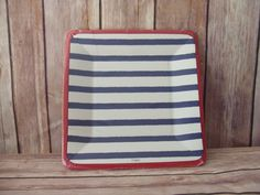 Blue and Red Square Salad or Dessert Plate, Nautical Themed Birthday Party, Wedding, Baby Shower,