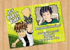 Ben 10 Birthday Party Invitation from Cuties Parties www.etsy.com/shop