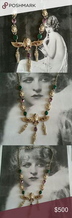 """925 Nicky Butler Egyptian multi gem necklace A show stopping Egyptian themed necklace by the legendary Nicky Butler. A true masterpiece. Sterling silver. Stamped 925 NB India. Stones include genuine amethyst, green calcite, rhodolite garnets, and citrine. Amazing Egyptian winged Pharoah centerpiece with faced amethyst and green calcite between Pharoah heads. 17"""" long with a 3"""" extension. Made in 2014 under very limited production as these pieces are hand made. Exquisite condition. Reasonable…"""