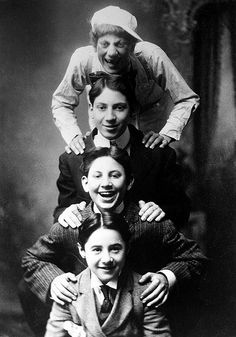 Top to bottom: Young Groucho, Chico, Harpo and friend Lou Levy