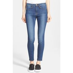 Frame Denim 'Le High Skinny' Jeans ($209) ❤ liked on Polyvore featuring jeans, fleet street, mens jeans, highwaisted jeans, high waisted skinny jeans, faded glory skinny jeans and faded jeans