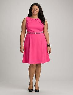 Plus Size Pleated Fit-and-Flare Dress