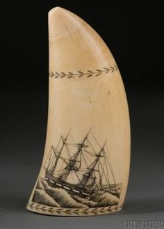 antiques price guide, antiques priceguide, nautical, , Engraved whale's tooth, 19th century, one side of the tooth decorated with incised scene of an interior of a ship captain's quarters, the captain seated at a table peering over a chart, the reverse depicting the ship COLUMBUS at sea, the ship's name inscribed on the stern.