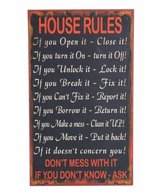 Look at this #zulilyfind! 'House Rules' Wall Plaque by Wilco #zulilyfinds
