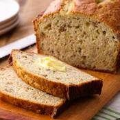 Banana Bread recipe from Betty Crocker. Alteration: I made this recipe but put it in 2 bread loaf tins which made loafs about 1 1/2 inches in height. Was in the oven for only 50 minutes as well and then let sit to cool.